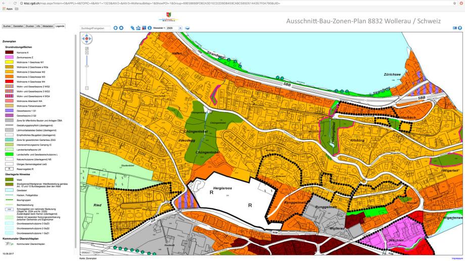 Ausschnitt Bau Zonen Plan Wollerau Schweiz
