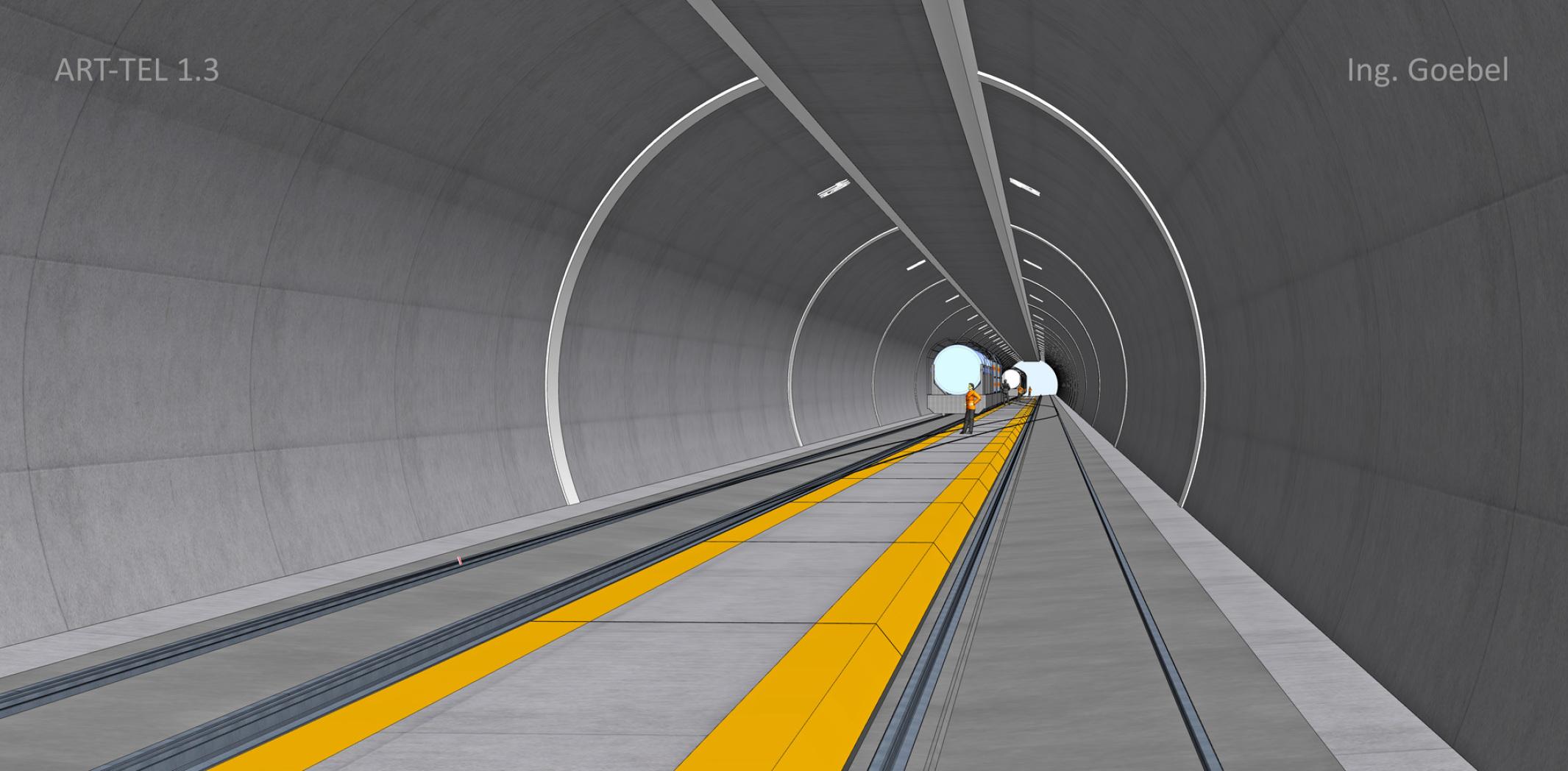 Querschnitt ART-TEL Tunnelbauwerk in einer Endlager Geologie Möckow bei Karlsburg