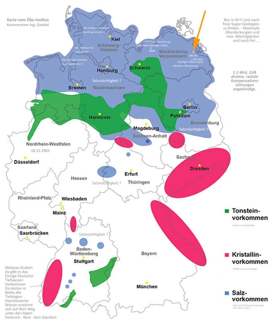 Karte Wirtsgesteine Endlager Deutschland