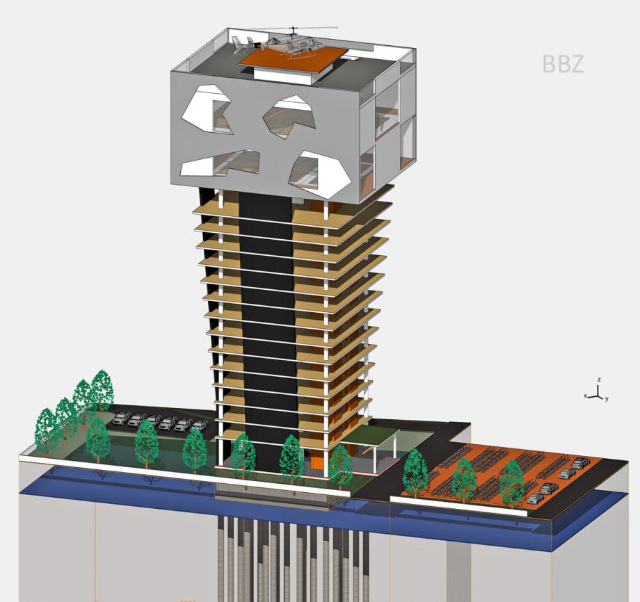 Perspektive Rational Entwurf BBZ Architektur Wettbewerb