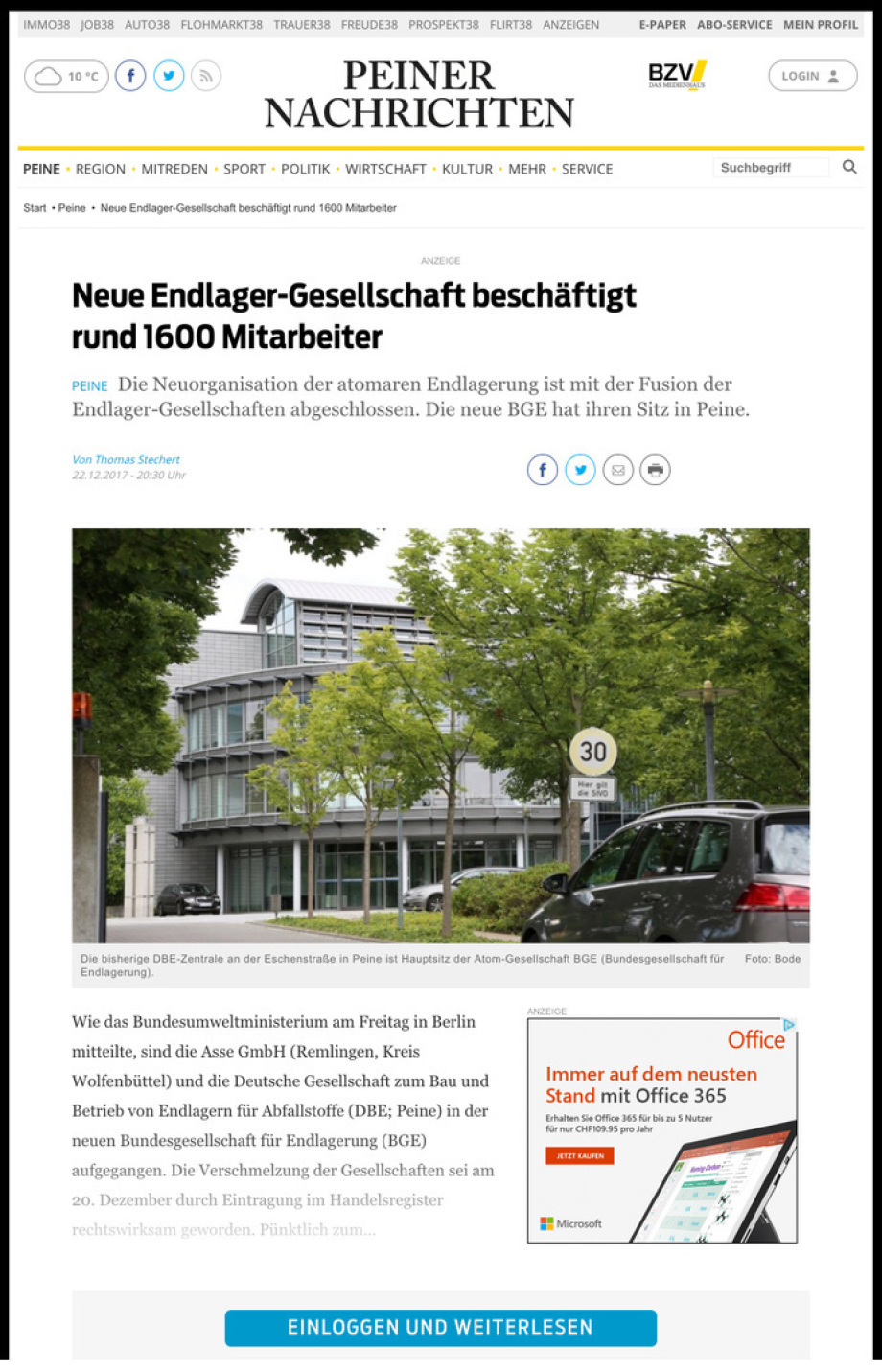 BGE GmbH ist DBE GmbH - die gleichen Leute die es seit 37 Jahren nicht leisten - hoffnungslos
