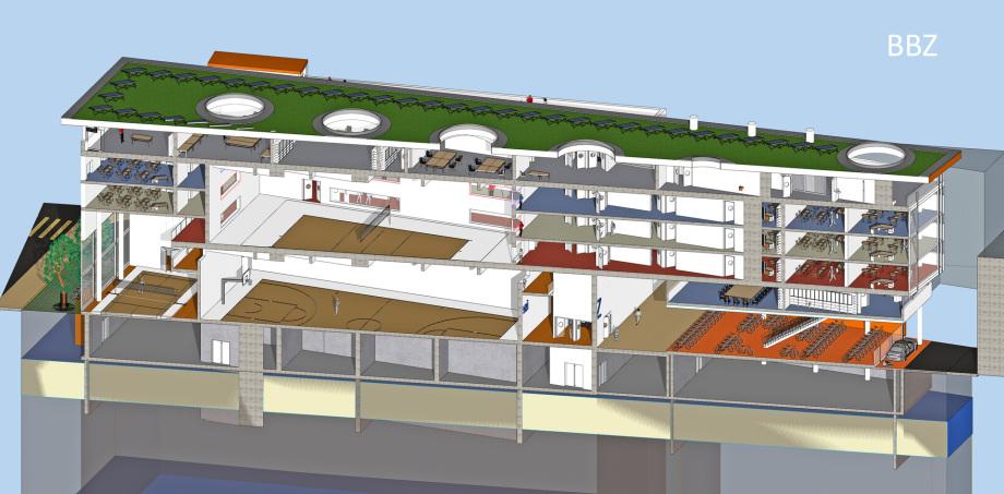 2_Diagonal_Schnitt_BBZ_Entwurf_Zürich_Schweiz_Architekt_Goebel_Baugewerbliche_Berufsschule