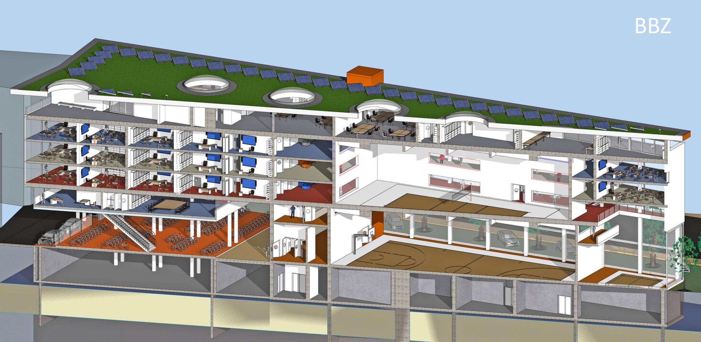 1_Diagonal_Schnitt_BBZ_Entwurf_Zürich_Schweiz_Architekt_Goebel_Baugewerbliche_Berufsschule