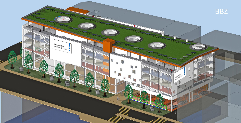 Wettbewerbs-Beitrag Architekt Goebel für Baugewerbliche Berufsschule Zürich Ersatzbau