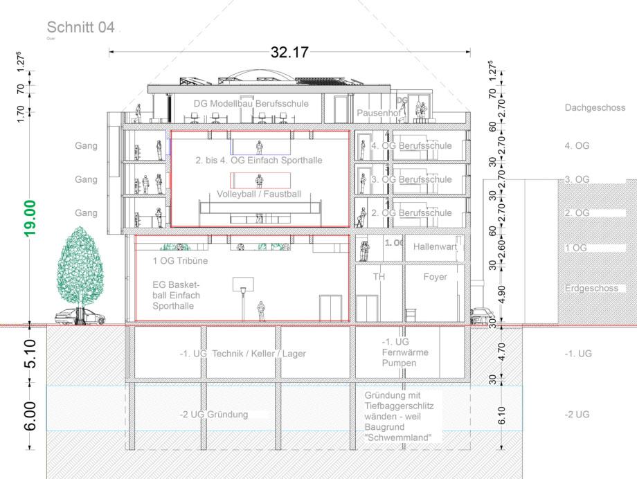 Schnitt 04 Baugewerbliche Berufsschule Zürich - Wettbewerbs-Beitrag - Architekt Volker Goebel Dipl.-Ing.