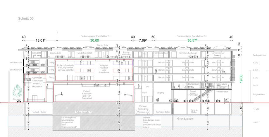 Schnitt 05 Baugewerbliche Berufsschule Zürich - Wettbewerbs-Beitrag - Architekt Volker Goebel Dipl.-Ing.