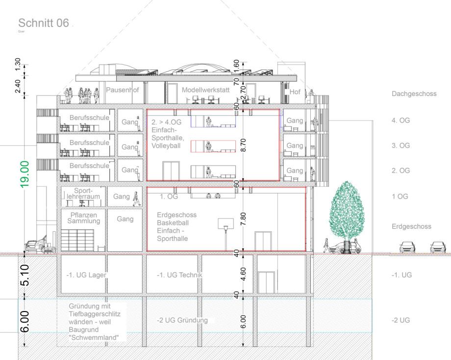 Schnitt 06 Baugewerbliche Berufsschule Zürich - Wettbewerbs-Beitrag - Architekt Volker Goebel Dipl.-Ing.