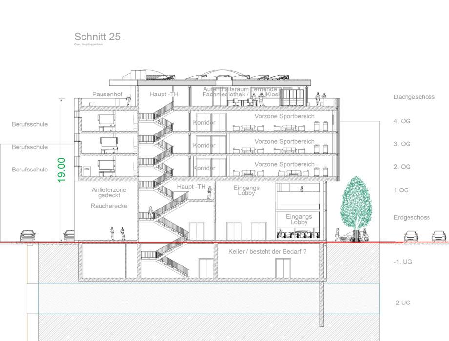 Schnitt 25 Baugewerbliche Berufsschule Zürich - Wettbewerbs-Beitrag - Architekt Volker Goebel Dipl.-Ing.