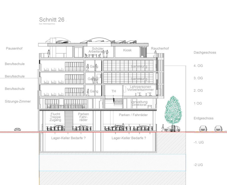 Schnitt 26 Baugewerbliche Berufsschule Zürich - Wettbewerbs-Beitrag - Architekt Volker Goebel Dipl.-Ing.