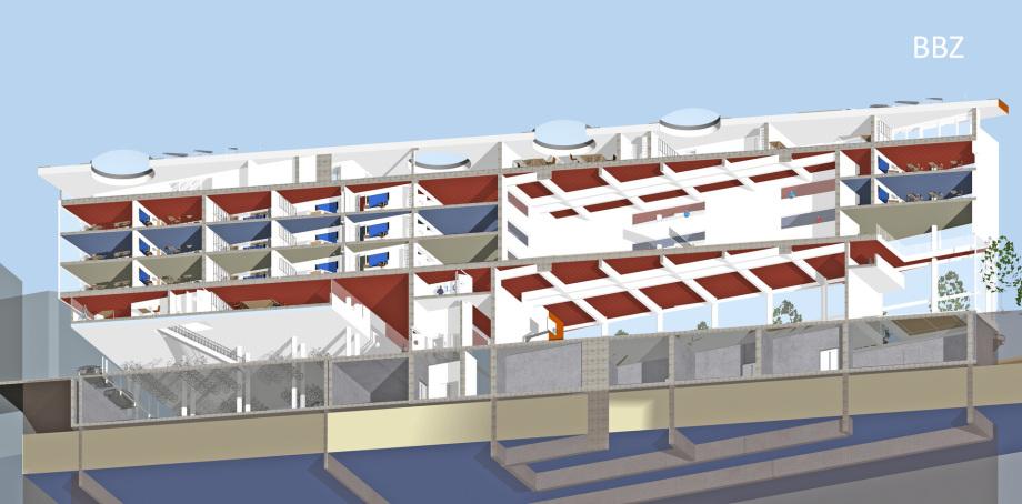 11_Diagonal_Schnitt_BBZ_Entwurf_Zürich_Schweiz_Architekt_Goebel_Baugewerbliche_Berufsschule