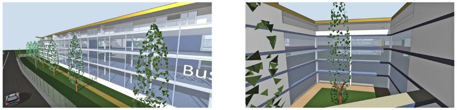 Glas-Fassade Labor und Fertigungs-Bereich und ein Innenhof