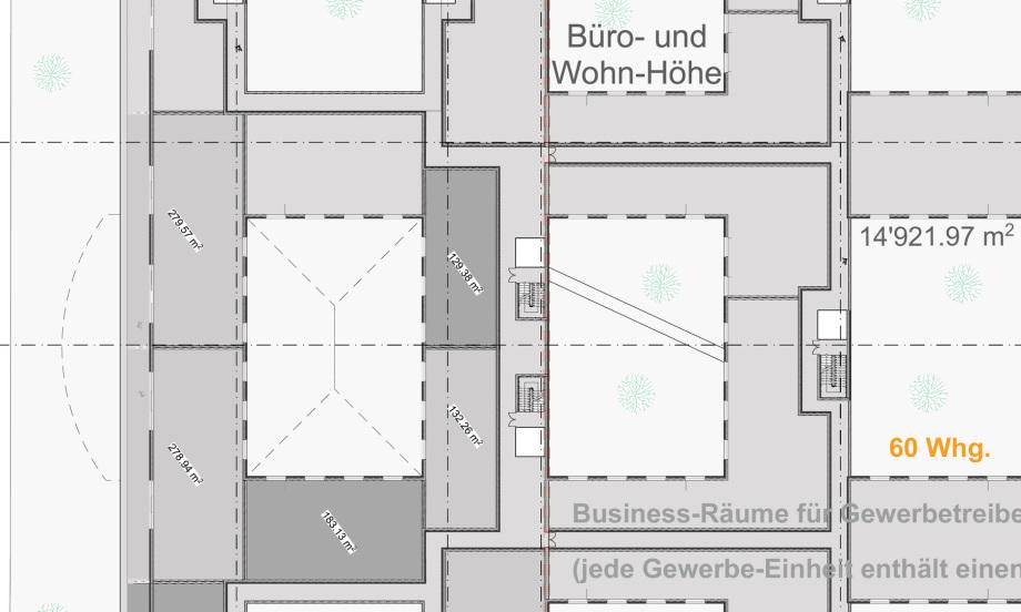 Flächen mögliche Gewerbe-Wohnungen im Dachgeschoss des Pharma Business Center