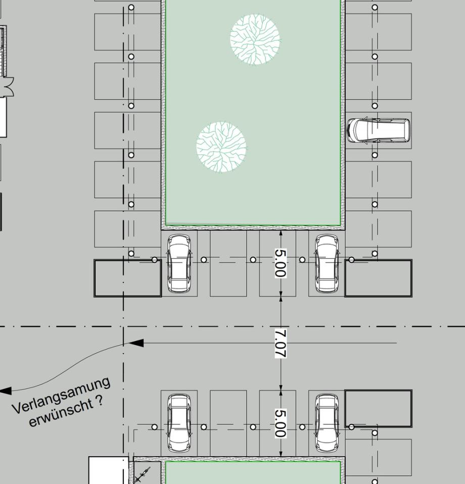 Parken in der Tiefgarage in Relation zu den notwendigen Säulen - Abmessungen