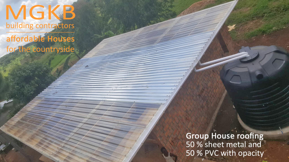 typical MGKB mix roof - metal and PVC for that the house is not dark inside Kiboga Uganda