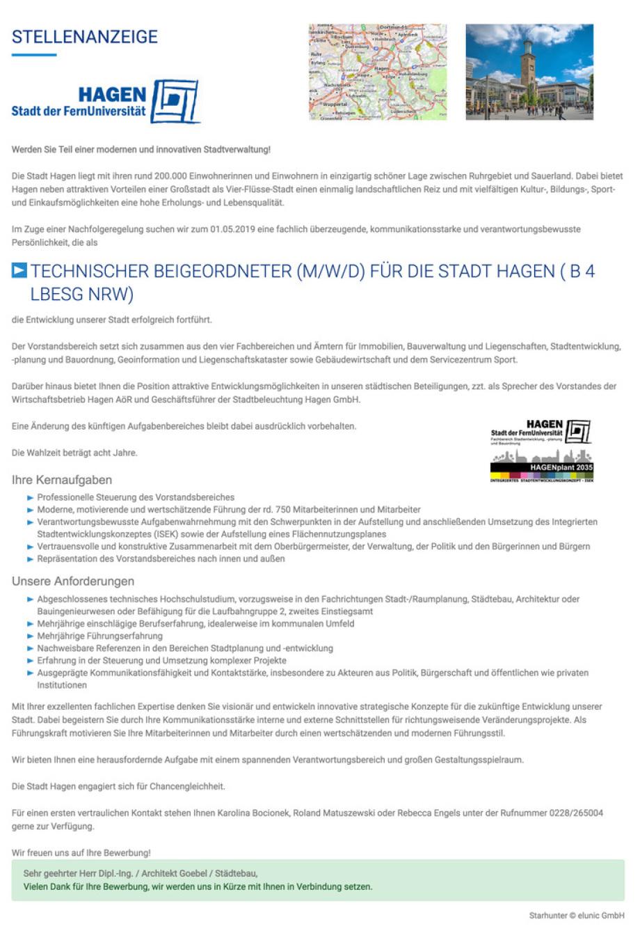 Stellenangebot technischer Beigeordneter für die Stadt Hagen - Bewerber Volker Goebel