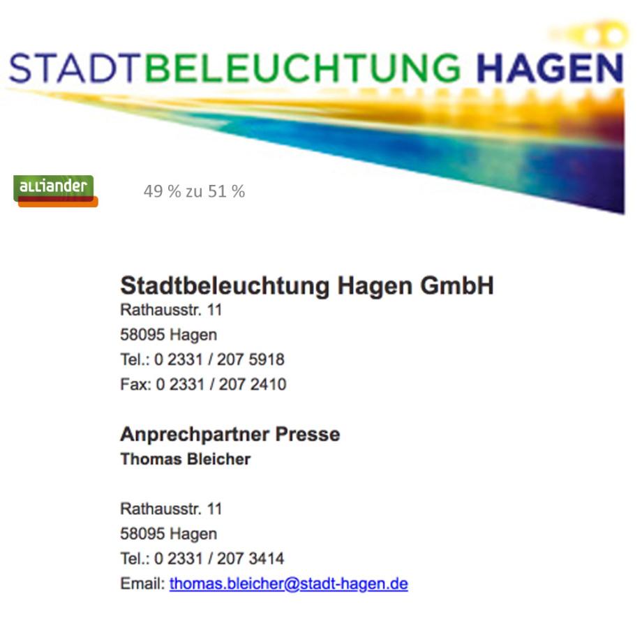 Private Public Partnership der Stadt Hagen mit der Alliander in der Stadtbeleuchtung Hagen GmbH