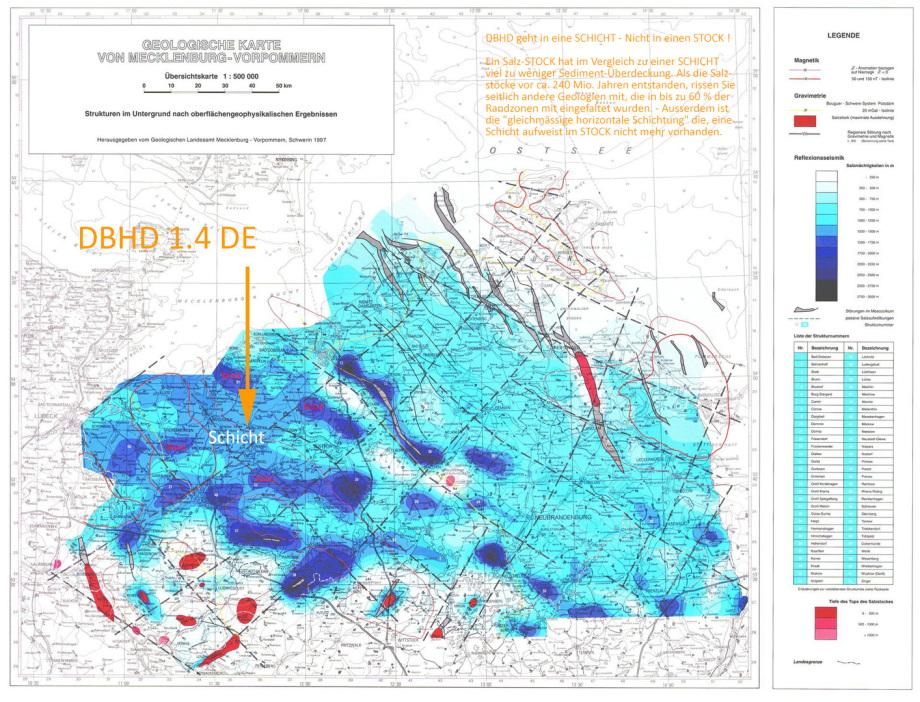 DBHD Endlager Standort in Steinsalz-SCHICHT Geologie bei Glasin - Geologische Karte des Zechsteinmeeres vom LUNG M-V