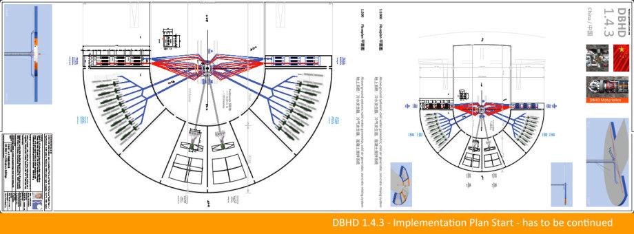 Grundriss-Beginn - oberirdische Anlagen für Wasser- und Luftkühlsysteme und Beton-Mischwerk - alles doppelt redundant ausgelegt
