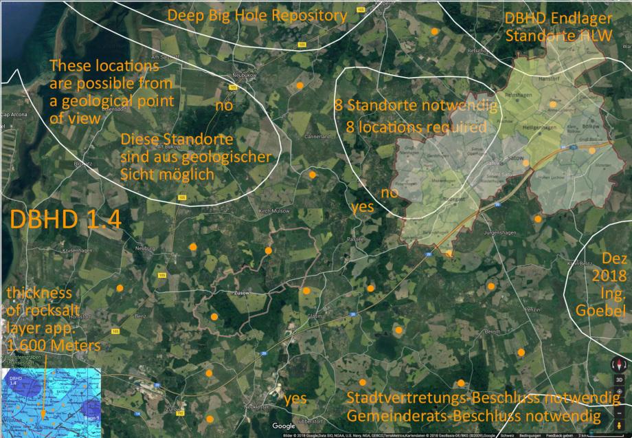 Endlager-Standort DBHD bei Glasin in M-V / BRD im Satellitenbild