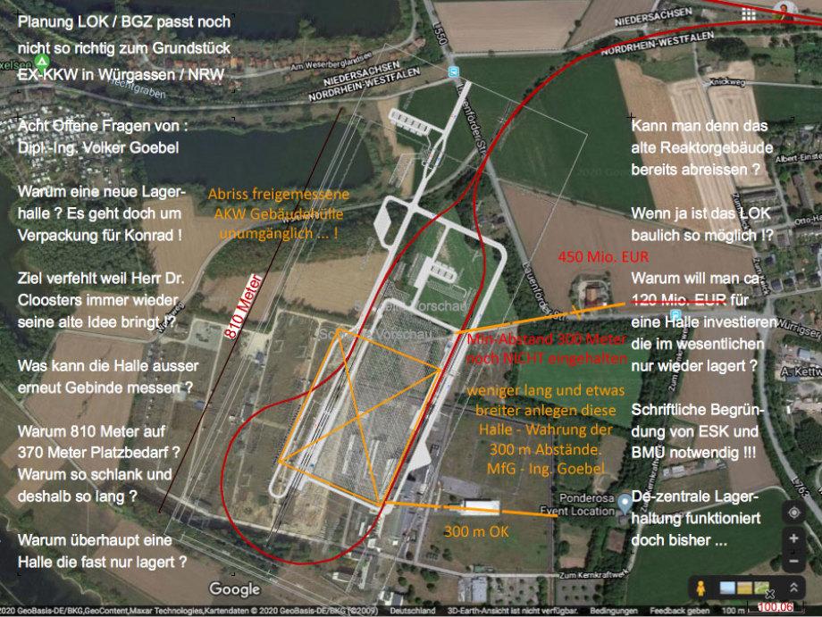 Die Vor-Planung für das LOK (Logistik-Zentrum- Konrad) wirft 8 Fragen auf die nur die ESK, BMU und BGZ beantworten können - sehen Sie sich das Bild an bitte ... MfG - Ing. Goebel