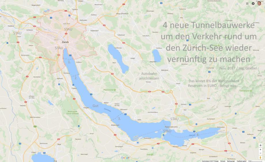 Trassen_ 1 bis 4 Tunnel unter dem Zürich See um die ewigen PKW Staus aufzulösen