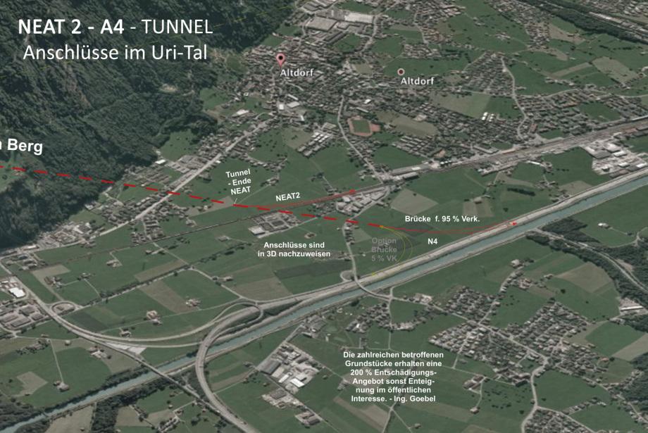 Anschlüsse im Uri-Tal bei Altdorf - eleganter Abzweig NEAT aus Tunnel - und nur eine einhüftige Brücke für An- und Ab aus Richtung Gotthard Autobahn 4