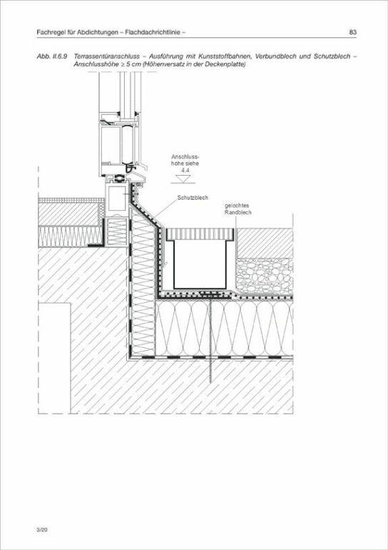 Detail Terrassentür-Anschluss Flachdachrichtlinie Deutschland