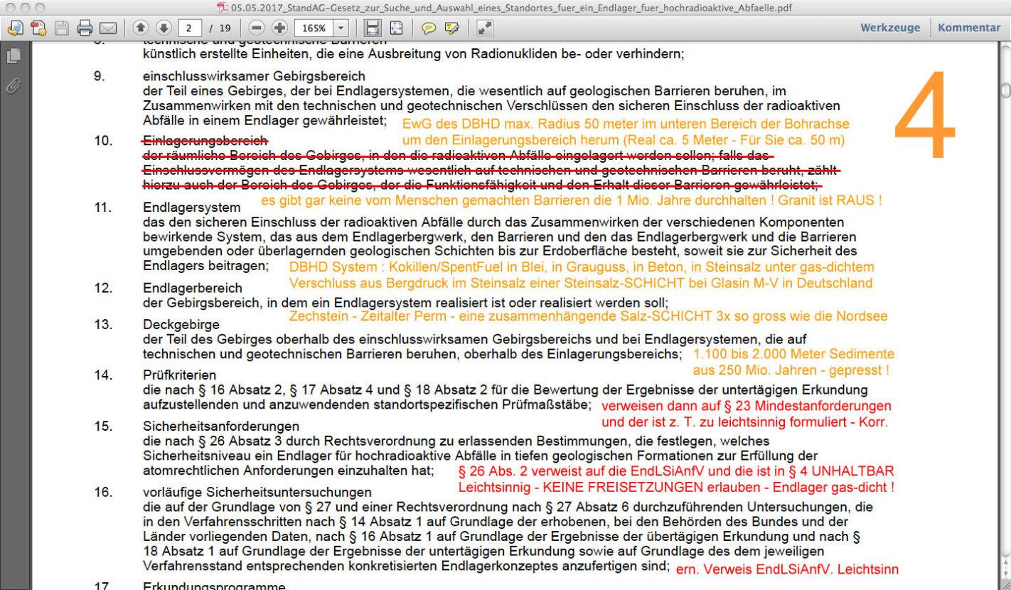 Mindest-Anforderungen leichtsinnig - Verweis auf EndLSiAnfV die Freisetzungen enthält !!! - schlimmer gehts nimmer