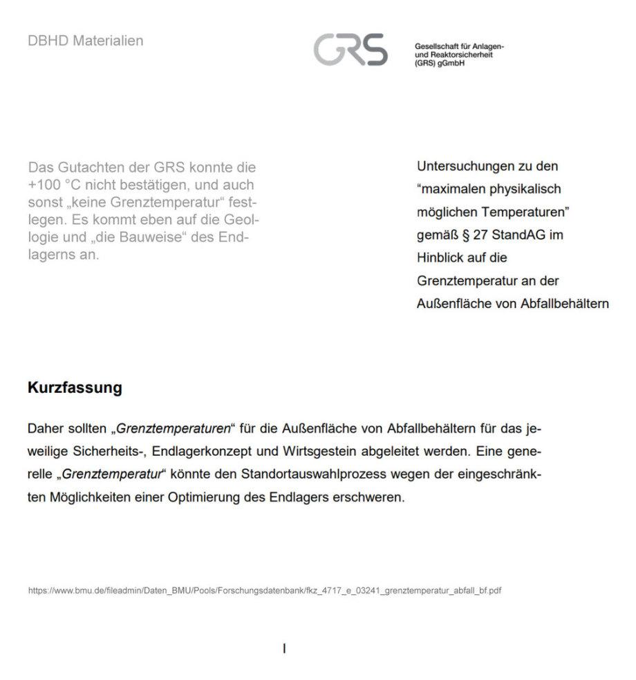 Kurzfassung GRS Gutachten zu Grenztemperatur Behälterkante zur Umgebung im Endlager