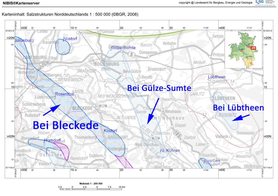 Salz-Stöcke : Bei Bleckede, Bei Gülze-Sumte, Bei Lübtheen