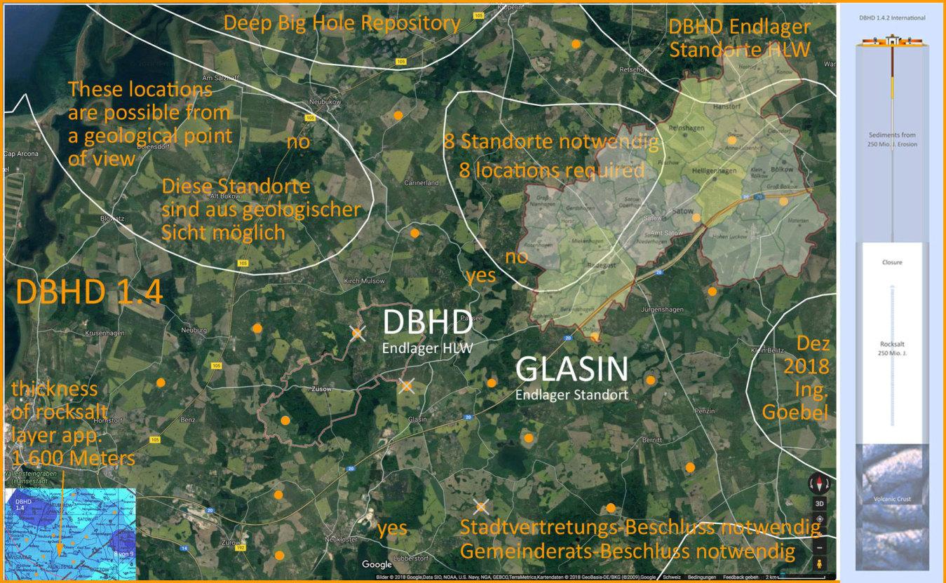 """Karte Standorte, Karte Testbohrungen - DBHD Einlager-Bereich """"bei Glasin"""""""