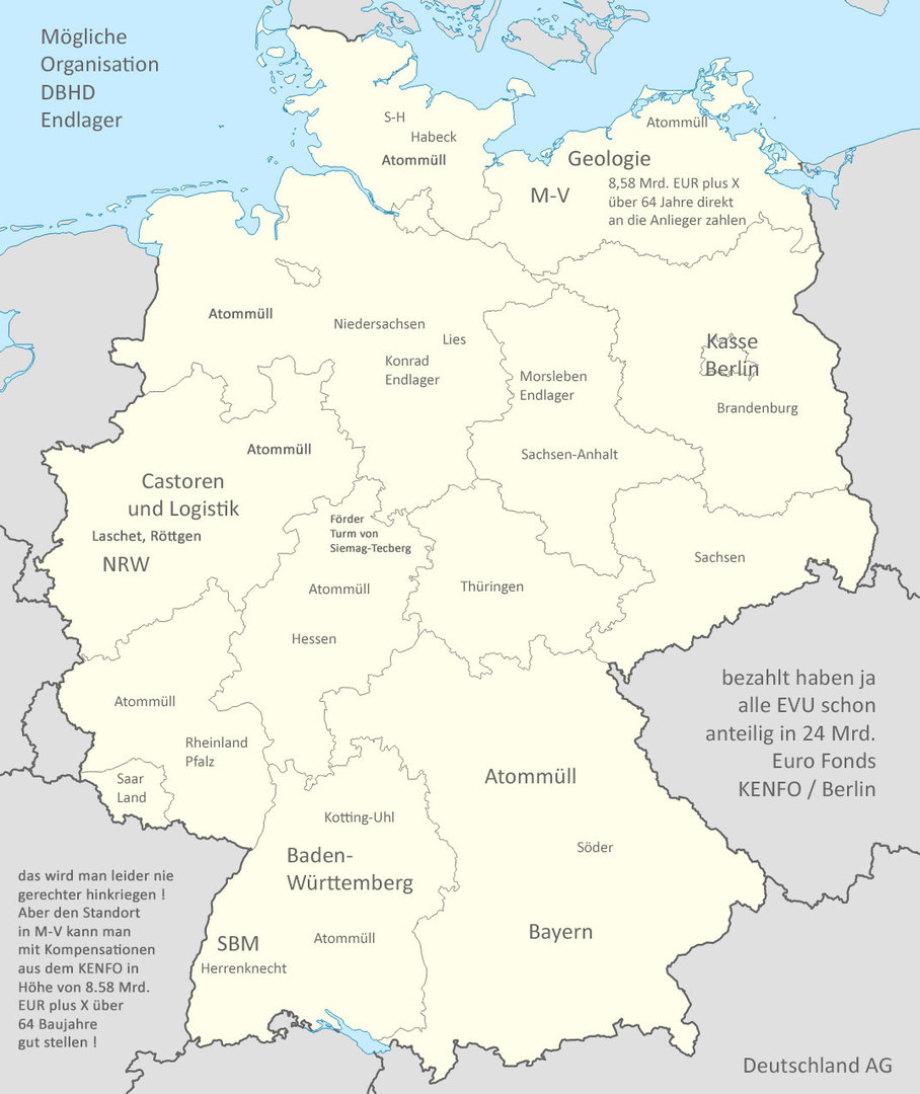>>> Mögliche-Organisation-DBHD-Endlager innerhalb der Bundesrepublik Deutschland - Teil-Leistungen der Länder - Ausgleich-Kompensation - #BRD #Endlager #DBHD #Karte #BASE #BGE #UmweltAusschuss #Parlament