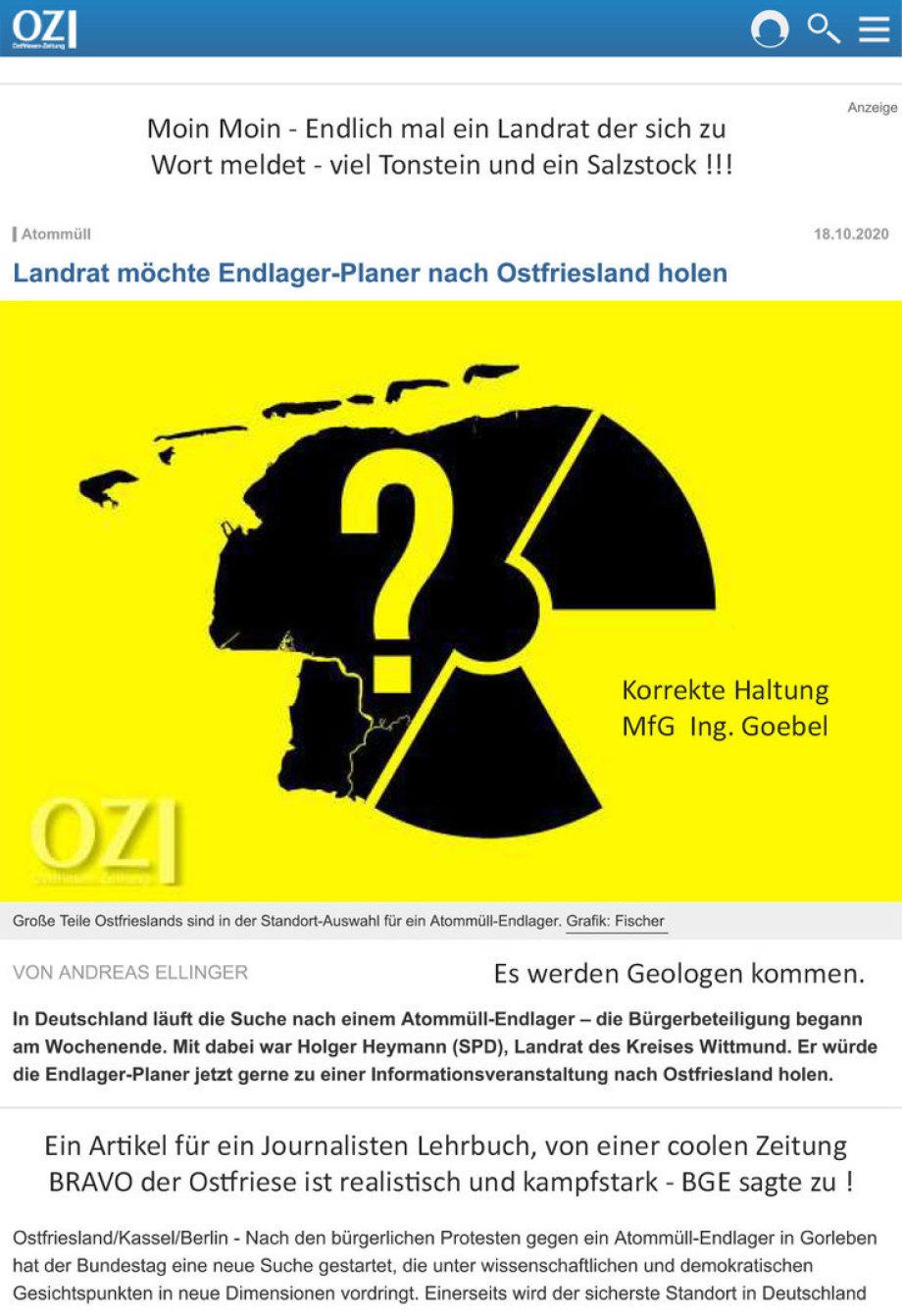 Ostfriesen Zeitung - Grafik Fischer - BI - Statement - Info - Kampfansage - Bravo