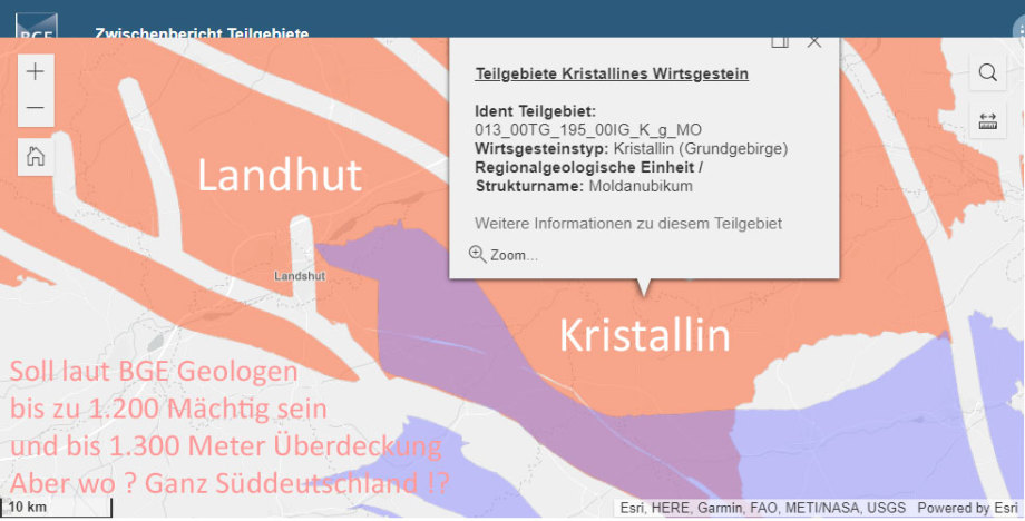 Wir schauen hier auf Landshut - aber wo genau die richtige Geologie für Endlager ist sagt die BGE Karte ja nicht
