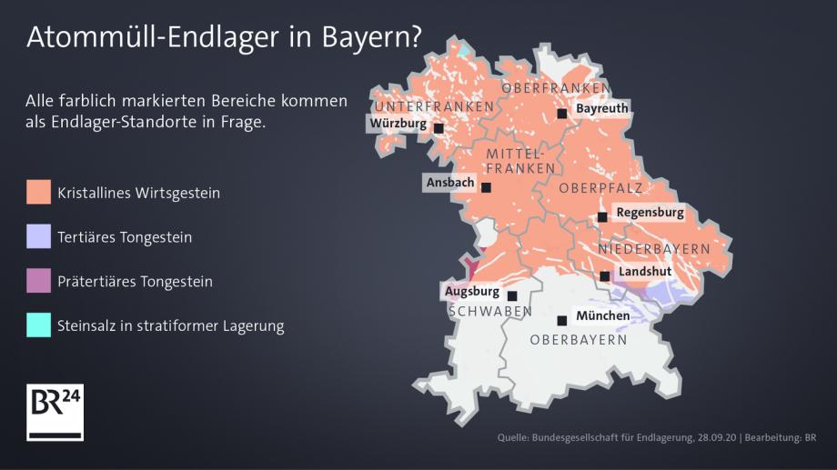 >>> Karte Bayern Teilgebiete BGE Endlager-Suche-Verfahren - irgendwie auch lächerlich - Wer will schon Granit bohren ? - Wie soll man das jemals richtig verschliessen ? - #BGE #Teilgebiete #Lächerlich #typisch #BGE #völligdaneben      https://www.br.de/na