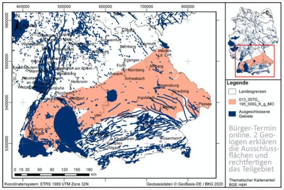 Ausschluss-Flächen und verbleibende Festgesteins-Geologie