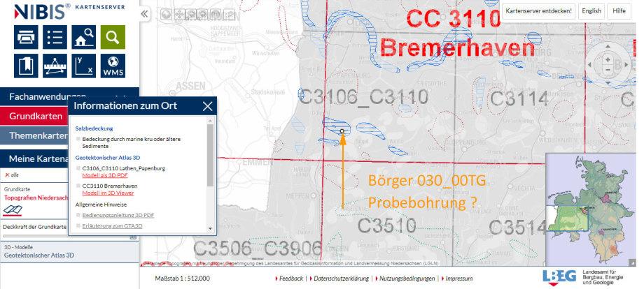 in der Übersichts-Karte - westlich von Cloppenburg - südlich von Bremerhaven