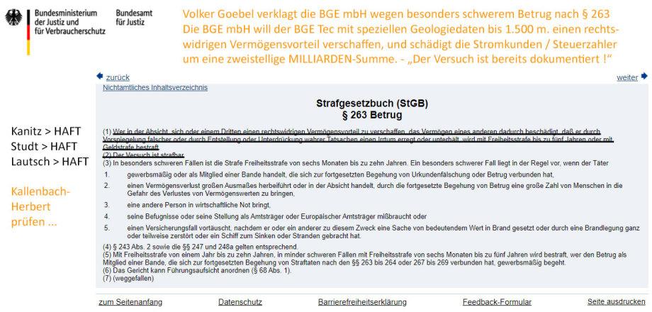 Strafanzeige gegen die BGE wg. Betrugs bei der Erfüllung eines öffentlichen Auftrags