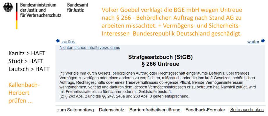 Strafanzeige gegen die BGE wg. Untreue bei der Erfüllung eines öffentlichen Auftrags