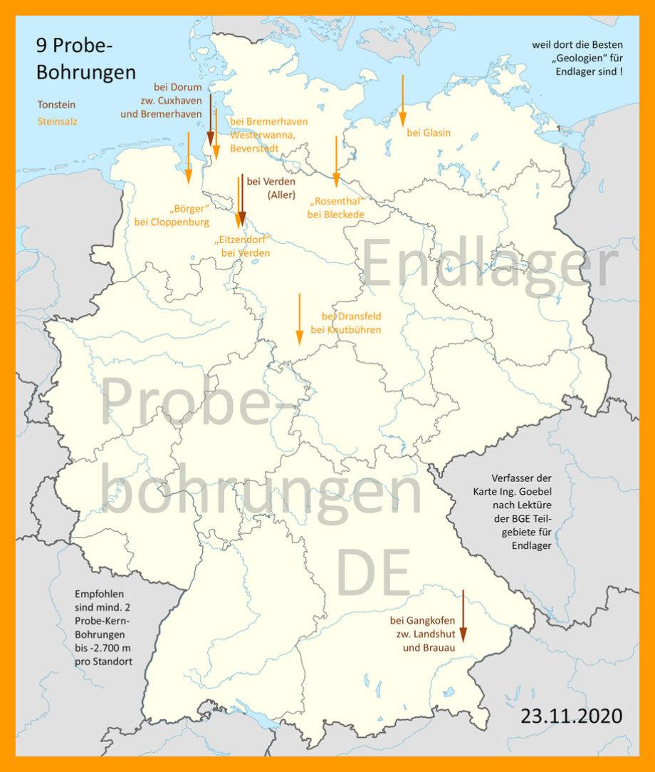 Probe-Bohrungen-Karte DE Endlager-Standort-Teilgebiete_BGE_Ing_Goebel