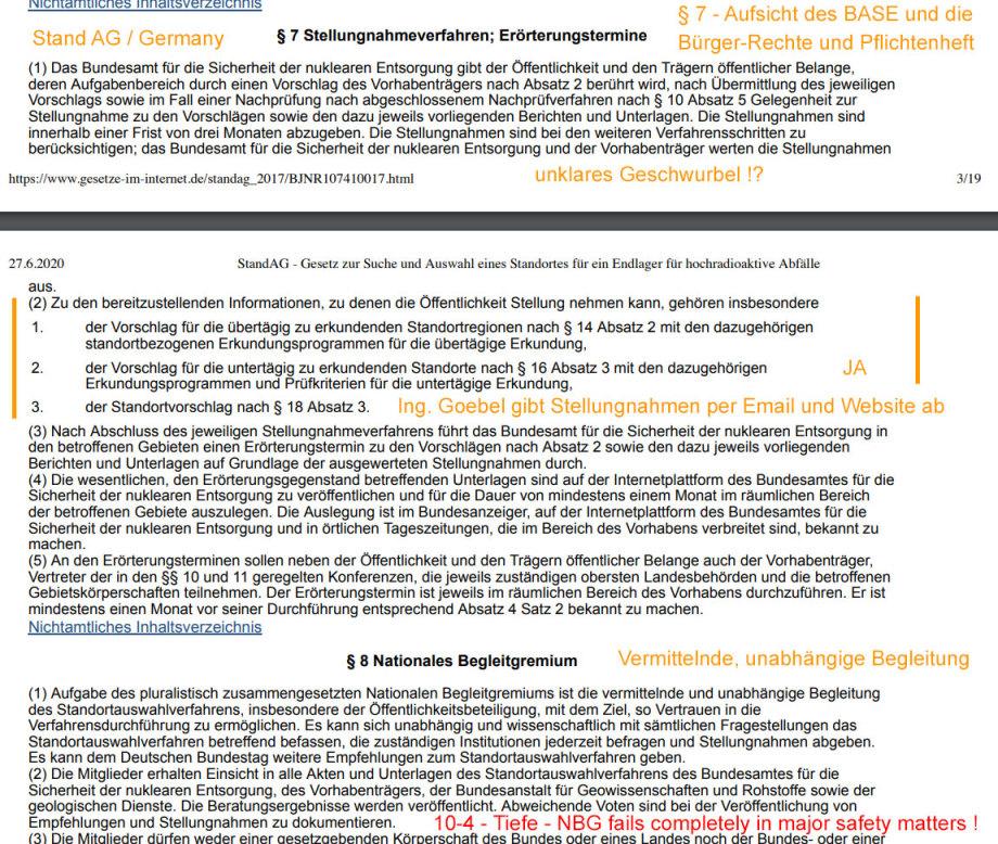Paragraph 7 Stand AG - eine Welt für sich - Stellungnahmen fast alle von Ing. Goebel