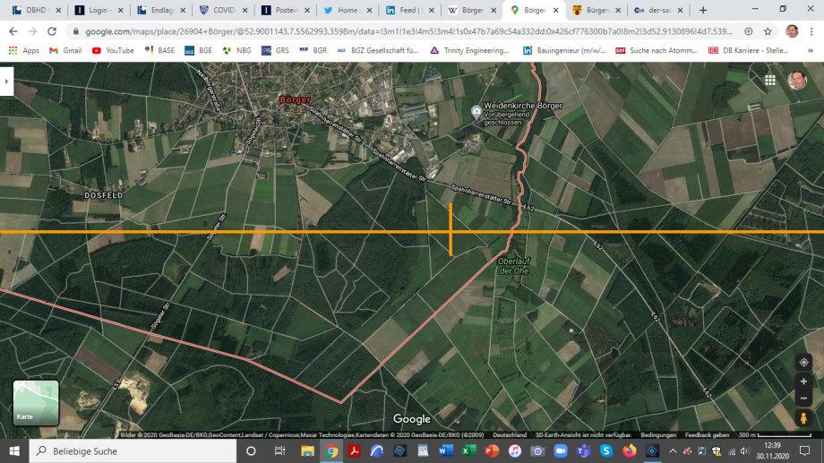 >>> So - und da ist der Standort der Probe-Kern-Bohrung für die Steinsalz-Struktur Börger von Ing. Goebel im Satellitenbild definiert - Eine Strasse hat es - Einen Wald als Schallschutz - ein Kleingewässer für das Bohrwasser - Das sieht jetzt mal so richt