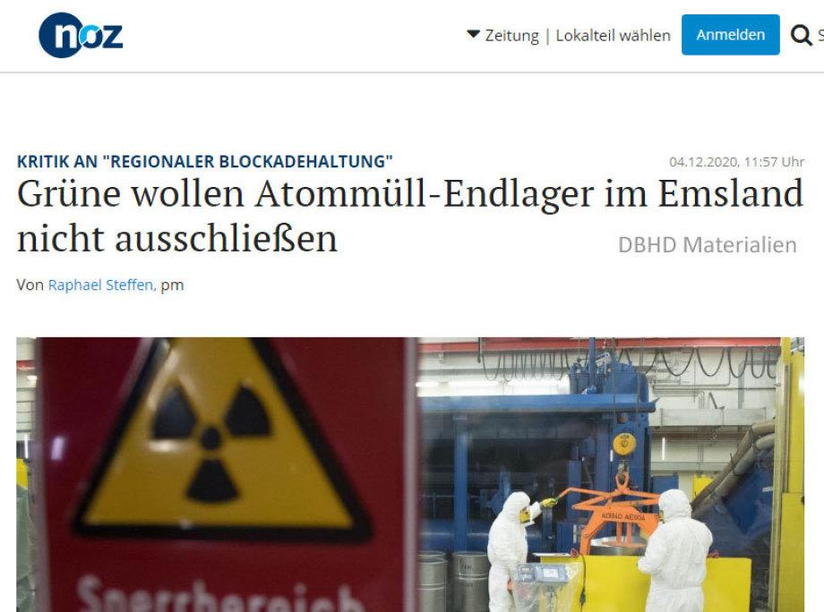 Grüne wollen Atommüll-Endlager im Emsland nicht ausschließen NOZ Dez 2020