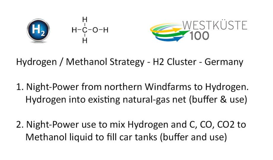 >>>Nacht-Wind-Strom > Wasserstoff & Methanol Speicher Die Strategie des Westküste 100 H2 Clusters DE (Raffinerie) https://www.westkueste100.de/ - #Wasserstoff #Methanol