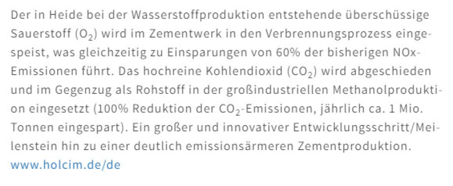 >>> Holcim - Cement and Concrete - within Westküste100  gets delivered O2 for low CO2 cement production - delivers CO2 for Methanol production - #Brilliant #Concept #Holcim