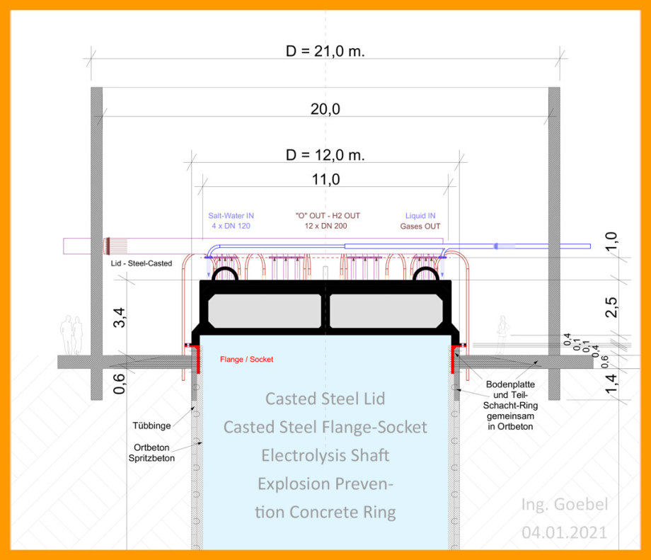 >>> Cut - Casted steel lid and flange-socket on Electrolysis Shaft - also new is the explosion prevention ring - 12 meters high, half a meter thick and made of concrete - FEM required - #Lid #Safety #Electrolysis - https://lnkd.in/dHSthyu - #Download