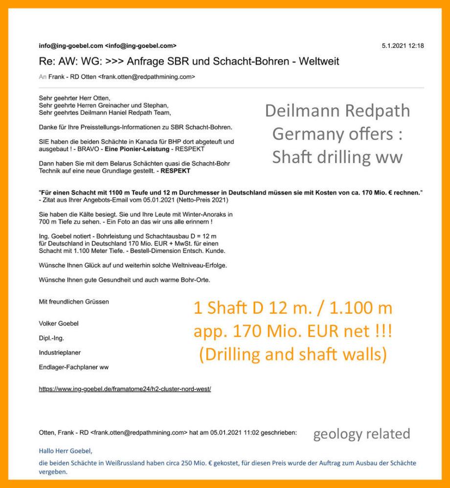 >>> Angebot Schacht-Bohren und Ausbau Fa. Deilmann Redpath DE - Shaft 12 m / -1.100 m for 170 Mio. EUR +MwSt >>> Offer Shaft Drilling 12 m / 1.100 - / 170 Mio. USD +VAT - #Offer #Deilmann #Haniel #Redpath #Shaft #170MioUSD #findpdf
