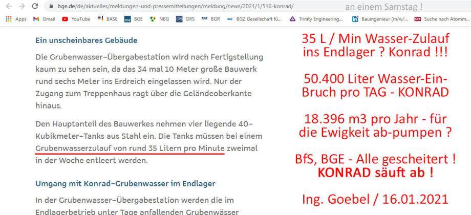 >>> Milliarden-Verlust - Endlager Bergwerk Konrad säuft ab. 50.400 Liter Wasser-Einbruch pro Tag - BGE Baustelle - #Konrad #säuft #ab #Milliarden #Verlust