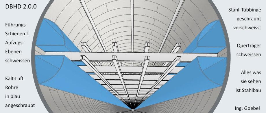>>> DBHD 2.0.0 - Neu sind die vertikalen Führungs-Schienen für die Aufzugs-Ebenen und die Kalt-Luft-Rohre in Blau - #DBHD #Steelwork #LeadershipRails #ColdAirTubes - Dokumentation : https://lnkd.in/ecp8zFM