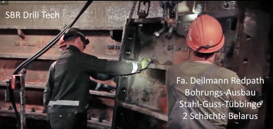 >>> Fa. Deilmann Redpath DE benutzt Stahl-Guss-Tübbinge zur Erstellung und Sicherung der Schacht-Wand - dann wasser-dicht verschweissen - auch bohrbar für Hinterfüllung mit Epoxid-Harz Hilti Hit - dann kein Wasserzutritt mehr möglich ... - Farbliche Besch